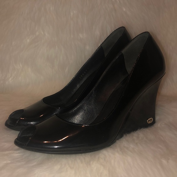 9f87cf5557542 Gucci Shoes | Auth Patent Leather Black Logo Wedges | Poshmark